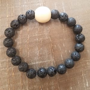 Jewelry - Black Lava Stone Bracelet with Wood Bead